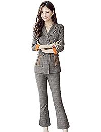 [もうほうきょう] スーツ レディース セットスーツ ストライプ OL オフィス 2点セット 就活 ビジネス 通勤 チェック柄 女性用 コート+ズボン パンツスーツ