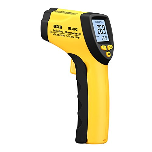 Urceri 赤外線温度計 放射温度計 IR-802-50℃〜580℃計測可 非接触式 放射率変更可能 0.5秒で測定完了 1m落下防止 育児 料理 工業 電力など対応【一年保証】