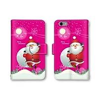 【ノーブランド品】 Xperia XZ Premium SO-04J スマホケース 手帳型 サンタ イラスト クリスマス ピンク かわいい おしゃれ 携帯カバー SO-04J ケース エクスぺリア