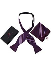HarvestオスシルクパープルドットSelf Tie Bow Tie & Pocket Square Gift Set for Men