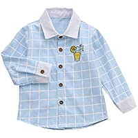 Mornyray Unisex Children's Long Sleeve Plaid Button Down Cotton Shirt Kids Casual Playwear Uniform Style Daily Homwear Tops Fashion Wild Girls Casual Daily Outfit