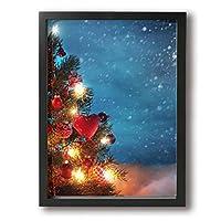 King Duck 景色 クリスマスツリー 絵画 インテリア フレーム装飾画 アートポスター 壁画 アートパネル 壁掛け 木枠付き Black
