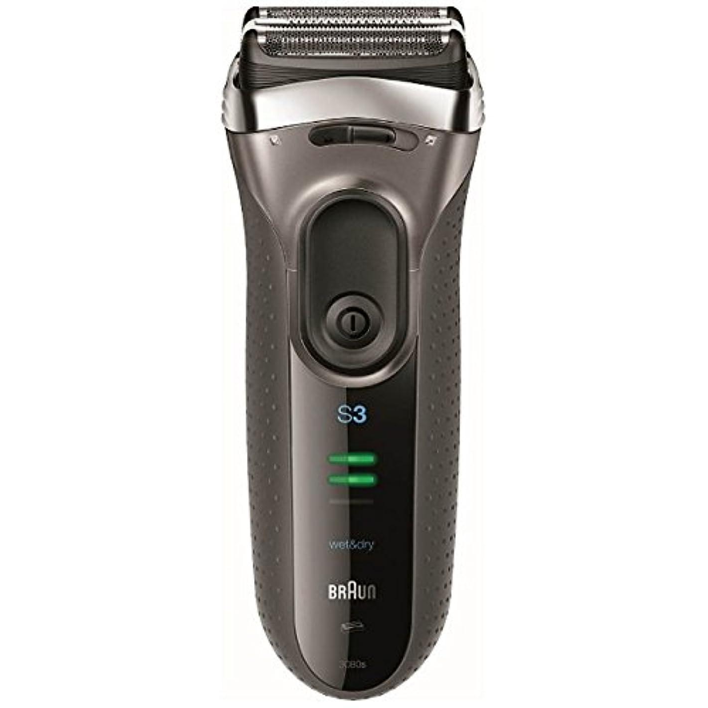 魅力弾力性のある然としたブラウン メンズシェーバー シリーズ3 3080s-S-P 3枚刃 お風呂剃り可 シルバー