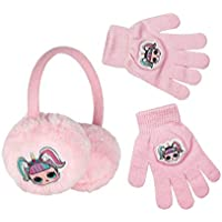 L.O.L. Surprise! Pink Fluffy Fur Earmuffs with Patches & Matching Stretchable Magic Gloves with matching Patches