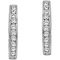 OMEGA JEWELLERY 0.55 Ct Round Diamond 10k White Gold Small Huggie Hoop Earrings (Color-J, Clarity-I2)