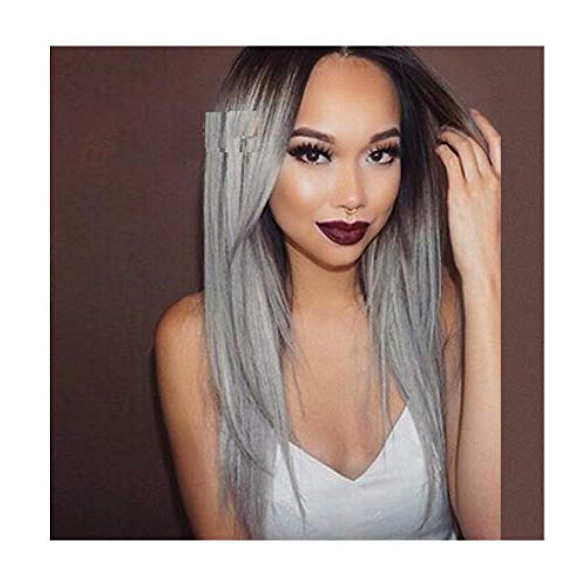 ビルマユダヤ人過度にかつら女性おしゃれなグラデーションロングストレートヘア6色を選択することができますコスプレ高品質女性パーティーかつら (Color : BLACK GRADIENT LINEN)