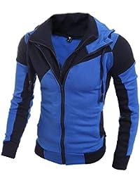 maweisong メンズフードレトロロングスリーブダブルジッパーパーカートップスジャケットコート