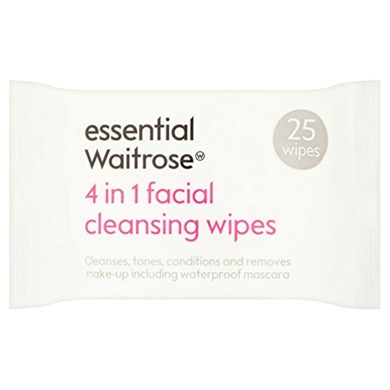 3 in 1 Facial Wipes essential Waitrose 25 per pack - 3 1での顔のワイプパックあたり不可欠ウェイトローズ25 [並行輸入品]