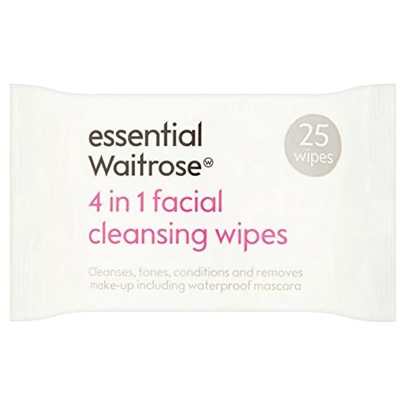 高架バルク欲しいです3 1での顔のワイプパックあたり不可欠ウェイトローズ25 x4 - 3 in 1 Facial Wipes essential Waitrose 25 per pack (Pack of 4) [並行輸入品]
