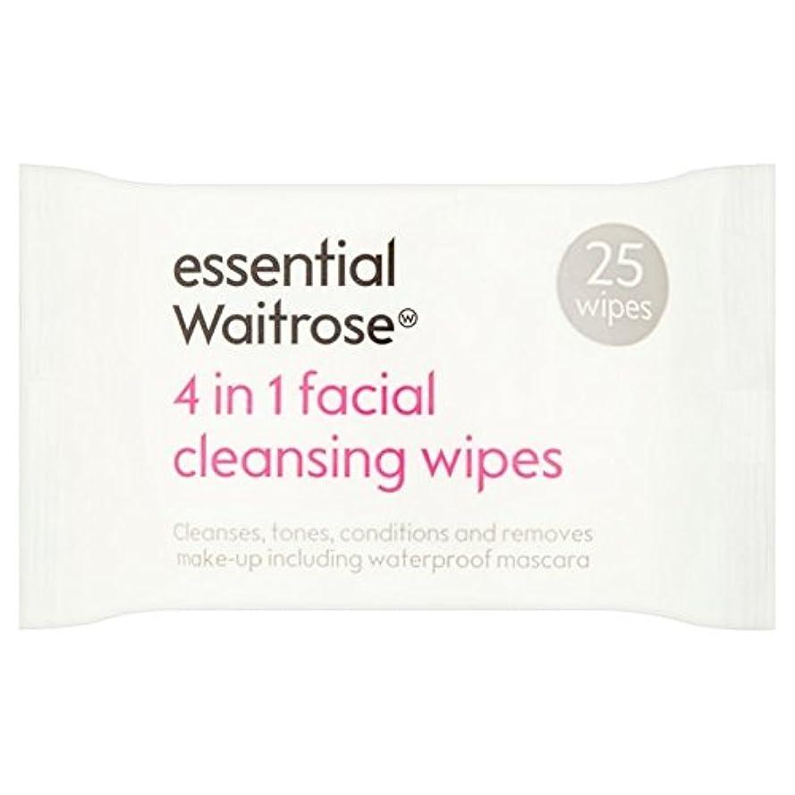 魅惑的な水っぽいの間で3 1での顔のワイプパックあたり不可欠ウェイトローズ25 x4 - 3 in 1 Facial Wipes essential Waitrose 25 per pack (Pack of 4) [並行輸入品]