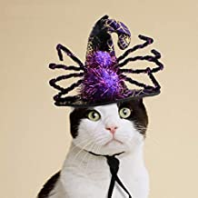 Stock Show Pet Halloween Hat Purple&Black Witch Hat with Spider Decor Funny Party Halloween Costume Headwear Cosplay Clothing Accessories for Cats/Kitten/Small Dogs