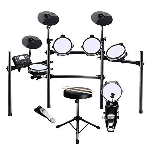 ZHRUNS 電子ドラムセット 折りたため可能 静音性に良いメッシュパット 日本語説明書 DREAM音源(ドラムイス/ドラムスティック/ドラムパッド×4/シンバルパッド×3/ペダル×2/音色数300/デモソング30曲/メトロノーム機能/録音/MIDI機能等付き)