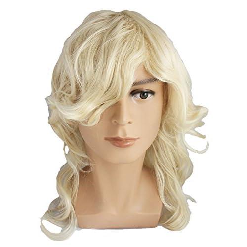 GLOBAL BOX メンズ 金髪 かつら コスプレ 外国人風 カツラ 仮装 ウィッグ (ロングカール)