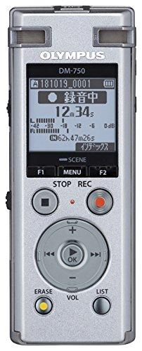 OLYMPUS ICレコーダー VoiceTrek DM-750 シルバー DM-750 SLV 内蔵メモリー4GB MicroSD対応(議事録、会議録音、商談、証拠録音、取材、インタビュー、高音質録音) DM-750 SLV