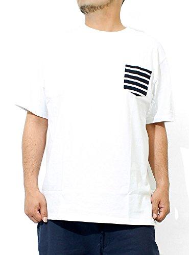 Tシャツ メンズ 大きいサイズ 半袖 ボーダー 無地 ポケット付き クルーネック カットソー