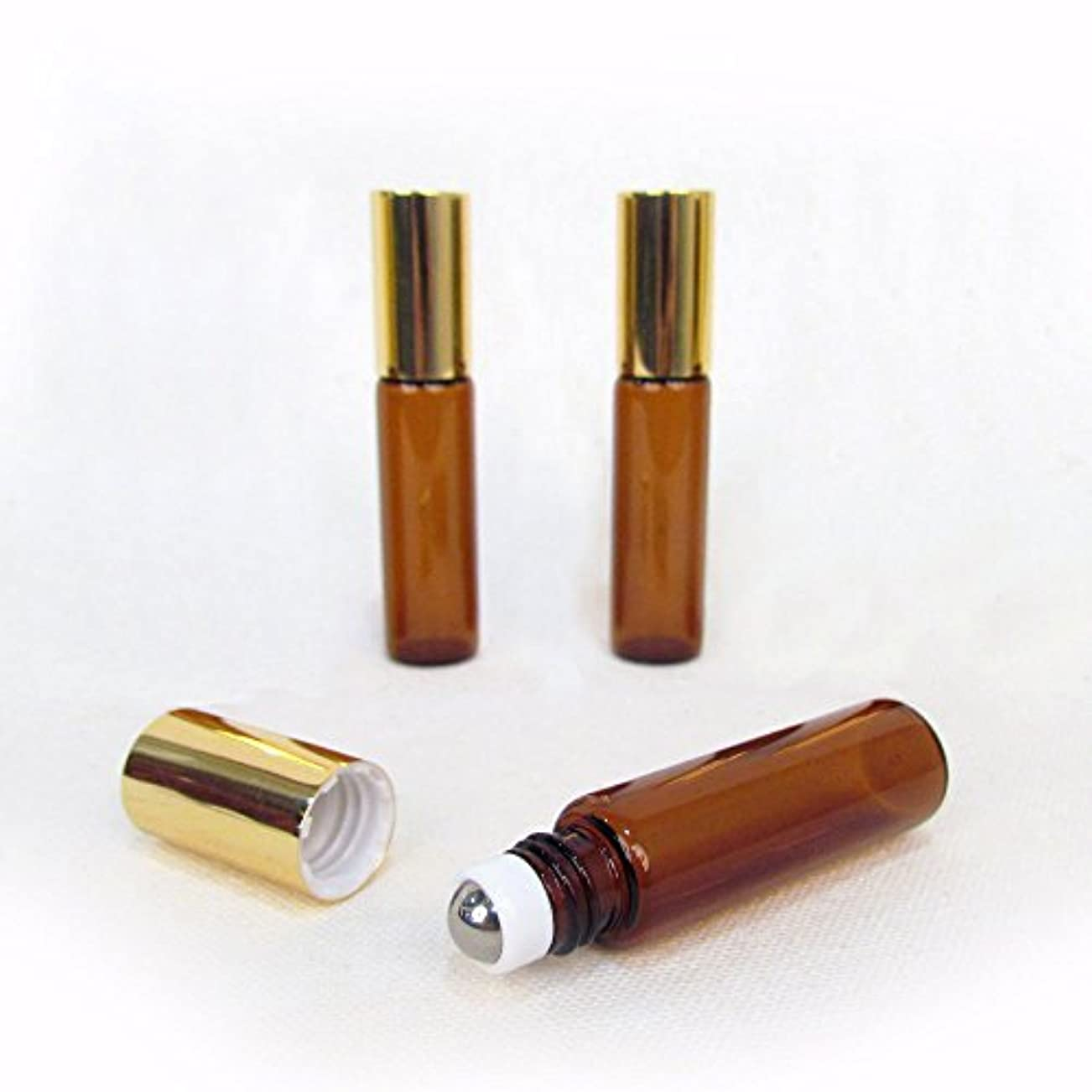 イヤホンスーツケース気味の悪いSet of 3-5ml Brown Amber Glass Roll On Bottle With Stainless Steel Ball for Essential Oils by Rivertree Life [並行輸入品]