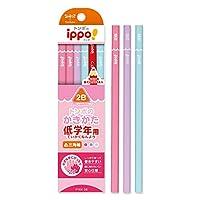 低学年用かきかたえんぴつ(三角・女の子) ポップ体 花 印刷 黒色 MP-SEPW04-2B トンボ鉛筆 ippo! 名入れ無料 名入れ えんぴつ 鉛筆