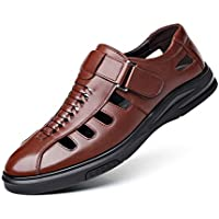 MTSL Summer Leather Middle-Aged Baotou Sandals Men Middle-Aged Breathable Shoes Men's Leather Dad Shoes Hole Shoes