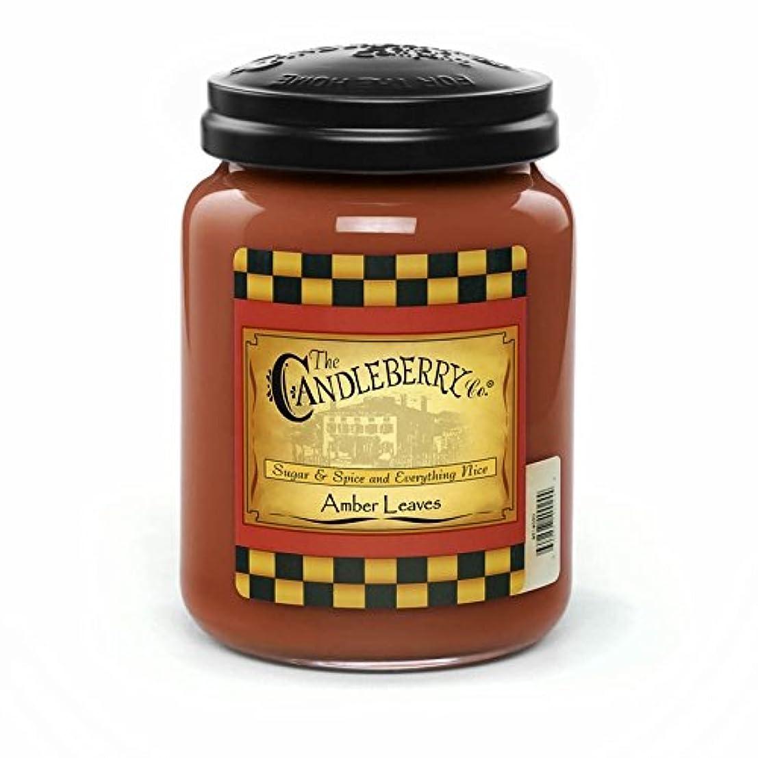 従来の円形の無駄だAmber Leaves 26オンスLarge Jar Candleberry Candle