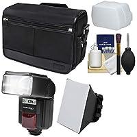Nikon DSLRカメラ/タブレットメッセンジャーショルダーバッグ+ LEDビデオライト&フラッシュ+ソフトボックス+ディフューザーキット、d810、d750、d610、d7200、d7100、d5500、d5300、d3300、d3200