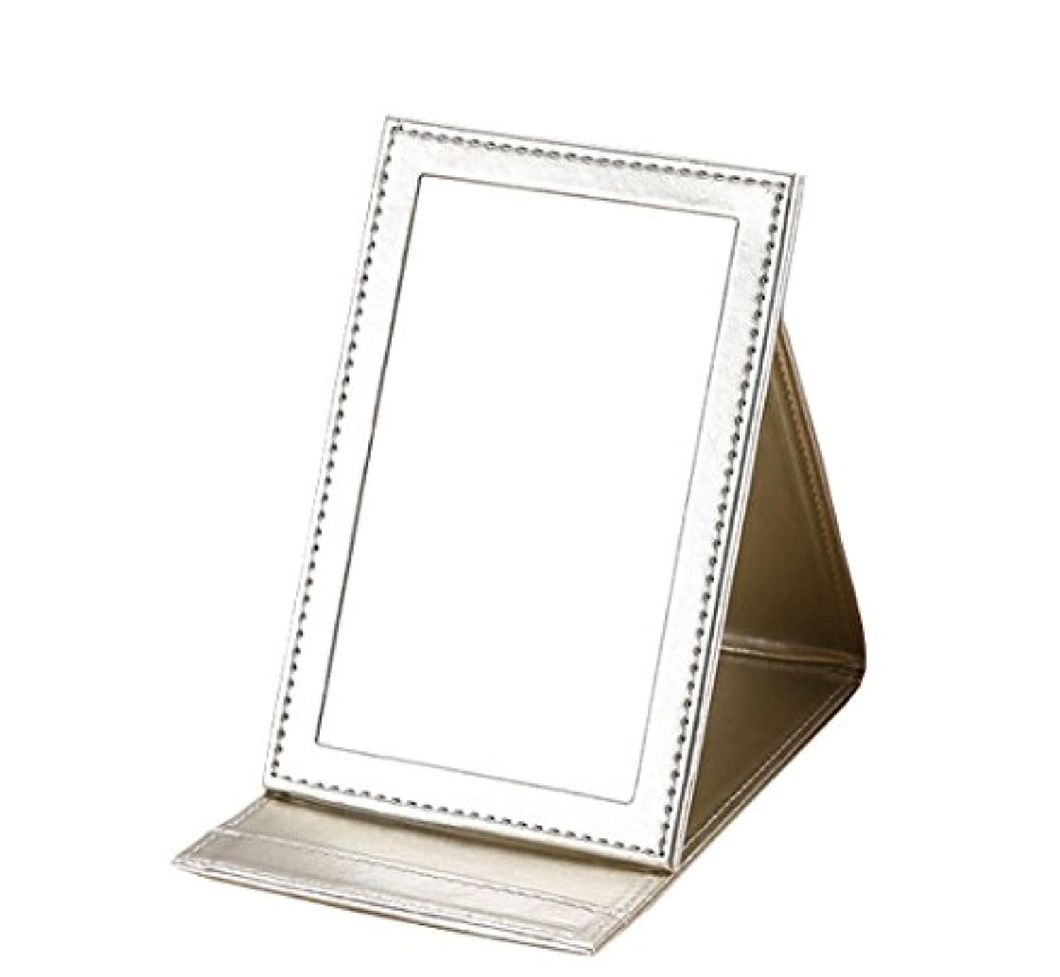 フォアタイプ地雷原薄い雲の花 革の化粧鏡に手のデスクトップに化粧鏡を持って折りたたみ式にして折り畳む鏡 (ゴールド)