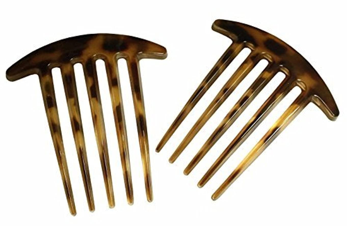 Parcelona French Medium Interlocking 5 Teeth Celluloid Light Tortoise Shell Side Hair Comb Set [並行輸入品]