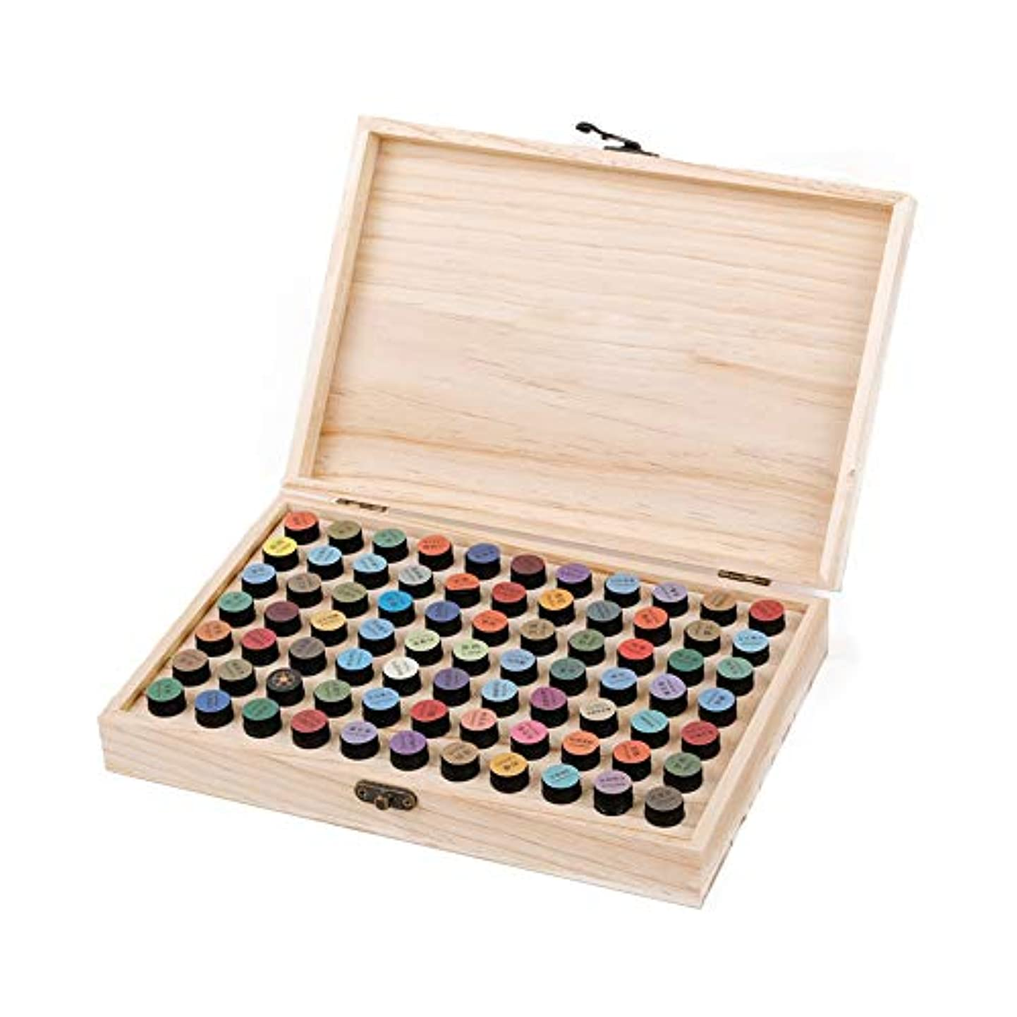 メリー泣いている葬儀2ミリリットルエッセンシャルオイルのために77ボトル木製エッセンシャルオイルストレージボックス77スロット アロマセラピー製品 (色 : Natural, サイズ : 29X19X4CM)