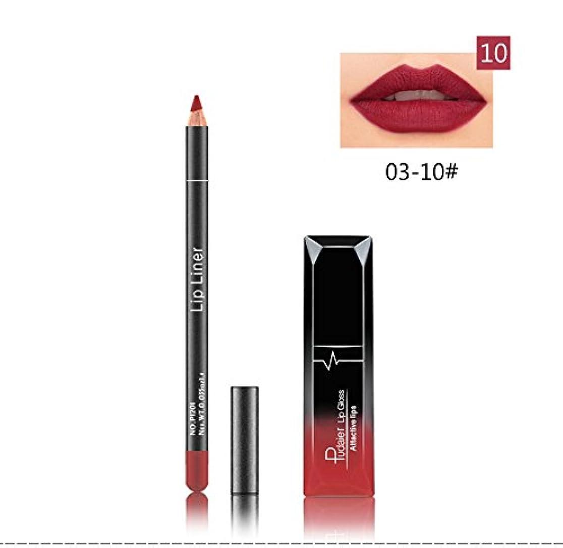 プロット移住するくすぐったい(10) Pudaier 1pc Matte Liquid Lipstick Cosmetic Lip Kit+ 1 Pc Nude Lip Liner Pencil MakeUp Set Waterproof Long...