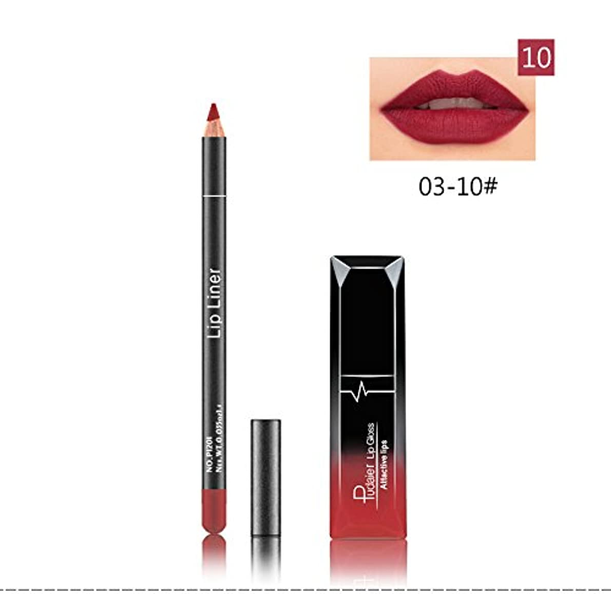 送金最大試用(10) Pudaier 1pc Matte Liquid Lipstick Cosmetic Lip Kit+ 1 Pc Nude Lip Liner Pencil MakeUp Set Waterproof Long...