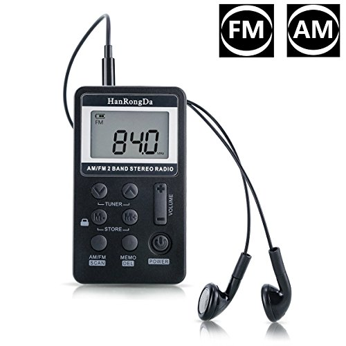 offeree FM/AMラジオ 大きいLCD液晶ディスプレー DSP技術 高感度 充電式 メモリー可能 ローク機能搭載 ポータブル ポケットラジオ 両色選択可 (ブラック)
