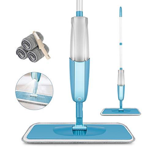 モップ フロアモップ スプレー 3枚交換用 410ml大容量 水拭きモップ 扇形噴水 回転 乾湿両用可 片手操作可能 腰曲げず 床を保護 床掃除 丸洗い可能