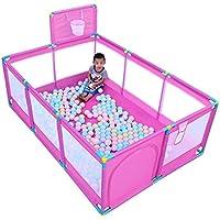 ベビーサークル 大型ベビープレイペンポータブルプレイヤードシューティングフェンスドア付き10パネル屋内キッズセーフティアクティビティセンター (色 : Pink)