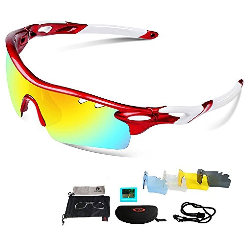 スポーツサングラス 偏光レンズ 超軽量 UV400紫外線カット 交換レンズ5枚 釣り/自転車/野球/ゴルフ/ランニング/ドライブ/登山 偏光サングラスセット