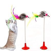 ペット用品 2 PCS猫のおもちゃ垂直前髪吸盤マウスおかしい猫スティック ペットのおもちゃ