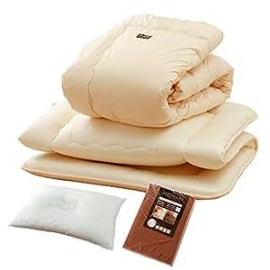 日本製 シンサレートウルトラ 6点セット 掛け布団 敷き布団 枕 綿100%カバー3点 シングルサイズ(布団:アイボリー×カバー:ブラウン)