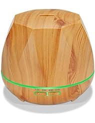 クールミスト空気加湿器、カラーLEDライト付き交換用超音波、ヨガ、オフィス、スパ、寝室、ベビールーム - 木目調 (Color : Light wood grain)
