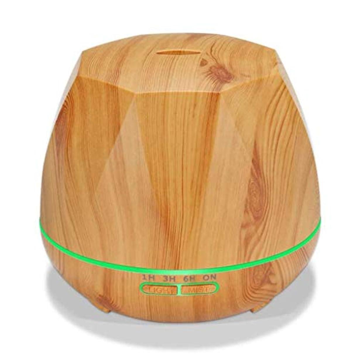 ボス処方漫画クールミスト空気加湿器、カラーLEDライト付き交換用超音波、ヨガ、オフィス、スパ、寝室、ベビールーム - 木目調 (Color : Light wood grain)