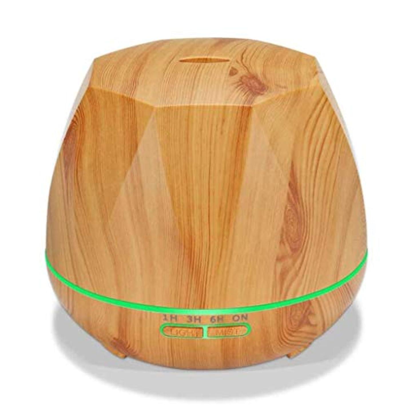 半島四分円インディカクールミスト空気加湿器、カラーLEDライト付き交換用超音波、ヨガ、オフィス、スパ、寝室、ベビールーム - 木目調 (Color : Light wood grain)