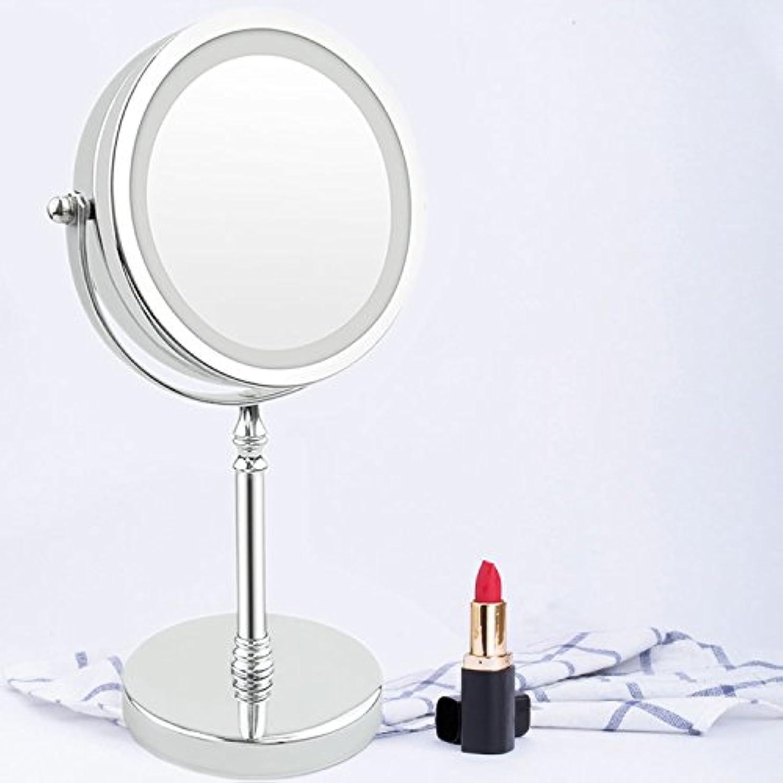 ごみご注意熟したLED卓上化粧鏡 卓上鏡 ライト付き化粧鏡 10倍拡大鏡 等倍鏡 両面型化粧鏡 360度回転式 スタンドミラー ライティングミラー 女優ミラー
