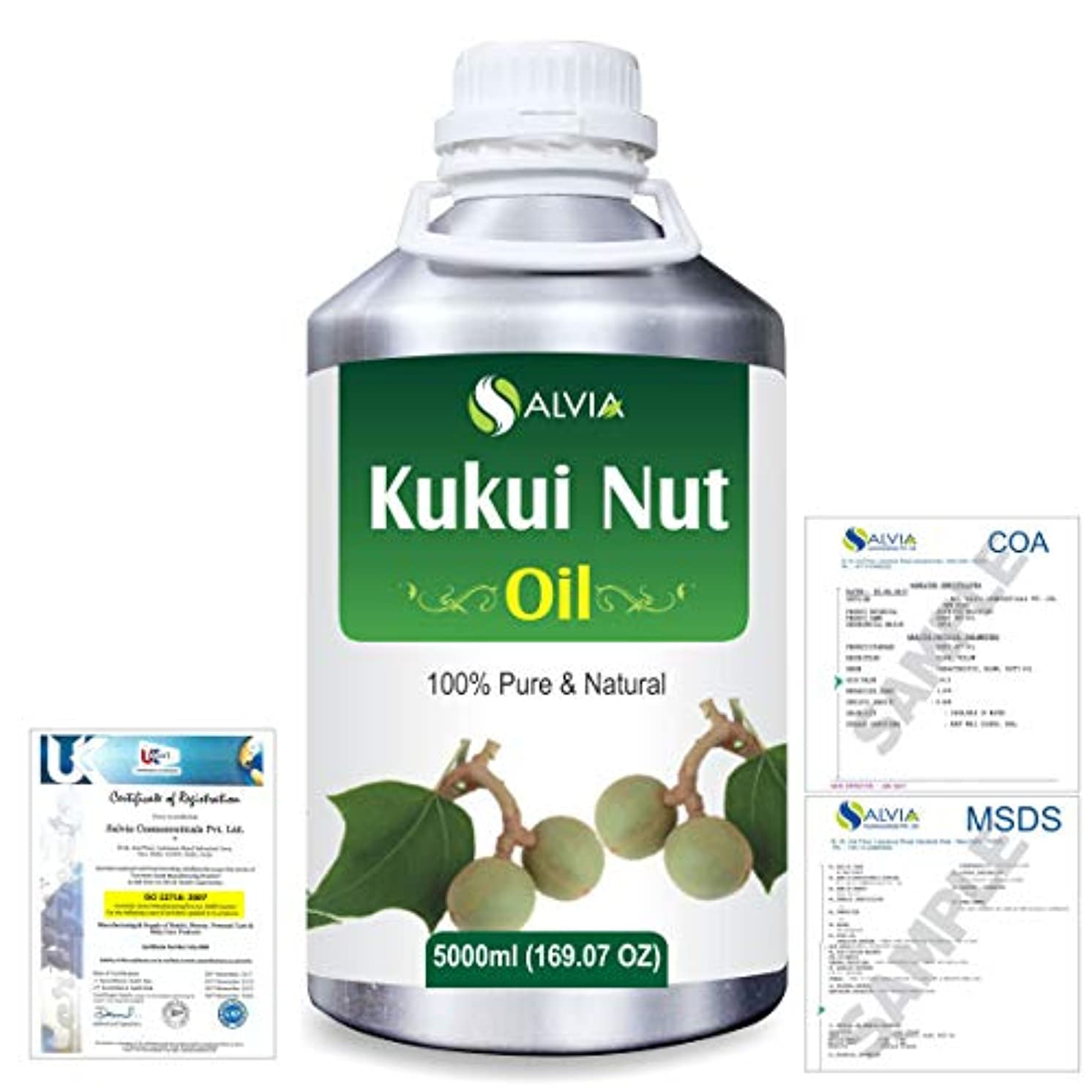 デッドロックデータベース温帯Kukui Nut (Aleurites Moluccans) Natural Pure Undiluted Uncut Carrier Oil 5000ml/169 fl.oz.