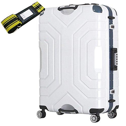 [セット品] (シフレ エスケープ) siffler ESCAPE'S B5225T-82 148L 7.5kg 3辺合計184cm シフレ エスケープ グリップマスター 特大 スーツケース・(カバンクラブ) 鞄倶楽部 59013 スーツケースベルト 黄/黒 2mまで対応 【合計2点セット】 (ヘアラインホワイト/ブルー)