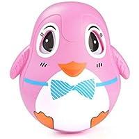 KEANER 新生児 乳児 ロールプレイポリー おもちゃ 目が点滅 漫画 赤ちゃん ペンギン プッシュチェア ラトル タンブラー 教育玩具 装飾 ギフト (ピンク)
