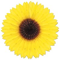 Pack of 12 Colourful Sunflower Hanging Tissue Paper Fan Party Decorations 46cm