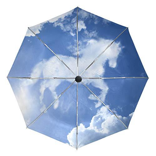 ミヤビヤ ワンタッチ 折り畳み傘 馬柄 ウマ柄 雲柄 動物柄 青空柄 内側 贈り物