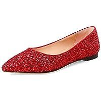 EVLYN Women Loafer Slip Rhinestone Fashion Glitter Ballet Flats Shoes