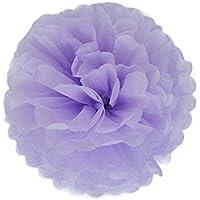 C-Princess ペーパーフラワー 単色10個セット ポンポンフラワー 花びら 華やか オリジナル インテリア 結婚式 二次会 パーティー イベント等の装飾に 薄い紫 (15cm)