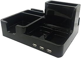 サンケーキコム スマホスタンド 多機能型 USBポート付き DMS-01-B 黒