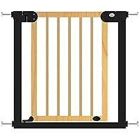 家庭用階段保護フェンスソリッドウッドベビーセーフティフェンスフェンスベビーレイルアイソレーションドア無料パンチング (Color : Wood color, Size : 77cm)