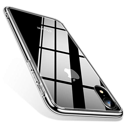 TORRAS iPhone XR ケース ガラス背面+TPUバンパー ガラスフィルム付属 (クリア)