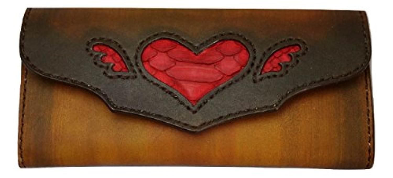 ハートのヘビ革 インレイ長財布 【FREE BIRD rm0277】 ヌメ革 手縫い
